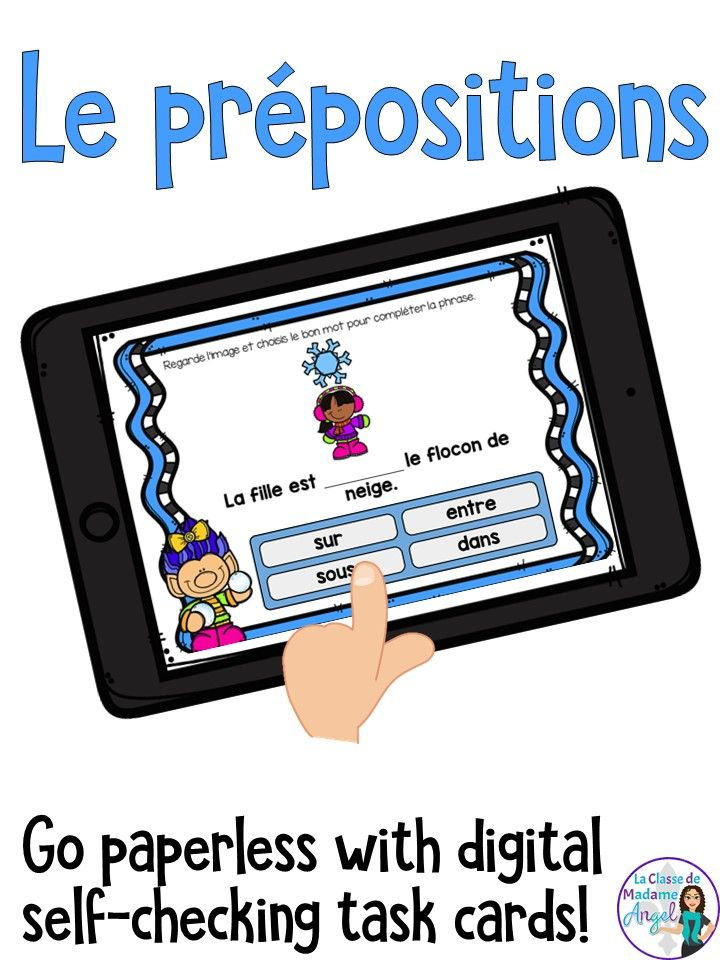 Les prépositions d'hiver!  You French students will love practicing their prepositions with this set of digital task cards that are hosted on Boom Learning!