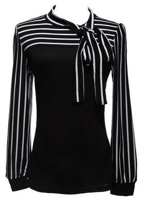 Women's Bowknot Striped Blouse – PLUS SIZES – 2 Colors!