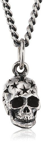 King Baby Men's 925 Sterling Silver Small All Star Skull Pendant and Curb Chain of 61 cm