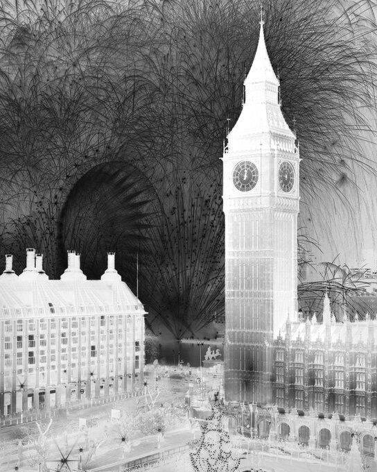 An exquisite negative image of fireworks over the Palace of Westminster on New Year's Eve, 2016 by Damion Berger.