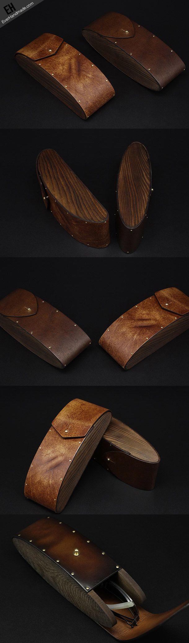 Handmade Vintage leather glasses case wood glasses