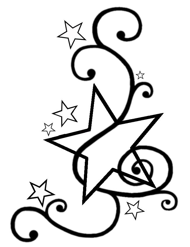 Stars with swirls tattoo