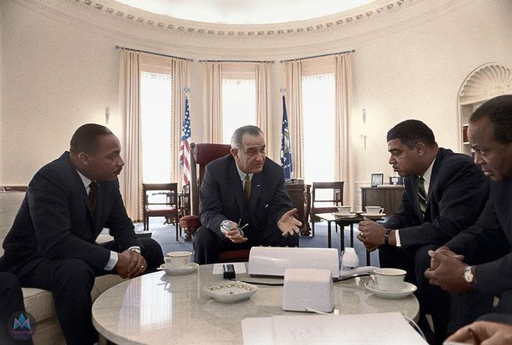 Martin Luther King with President Johnson in the White House
