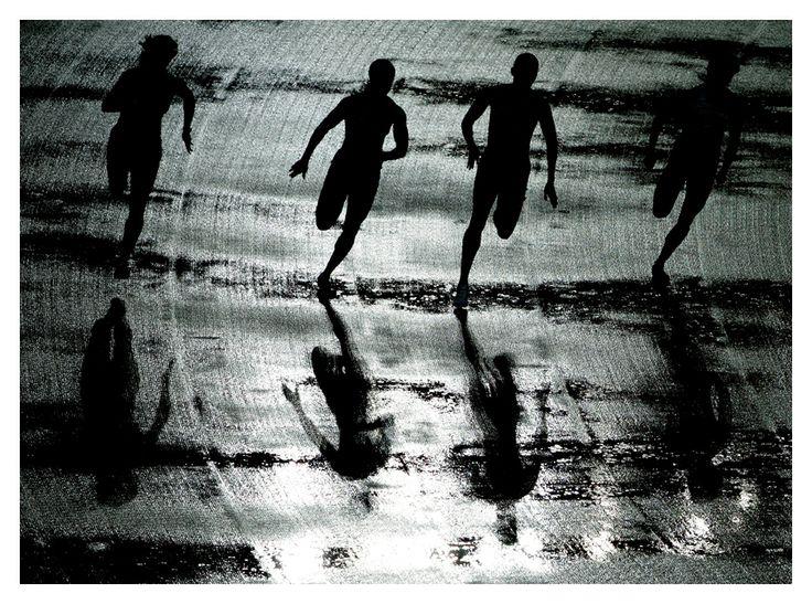 Løbere i modlys. Fra Politikens arkiv