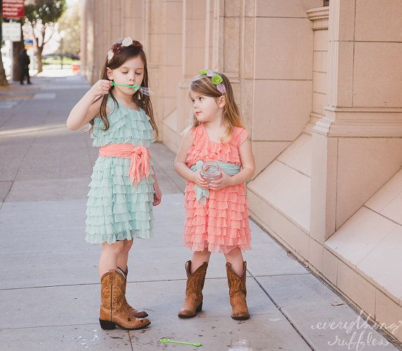 Mint Flower Girls Dress with Peach Sash, Wide Straps/Cap Sleeves, 2 Inch Ruffles on Etsy, $65.00