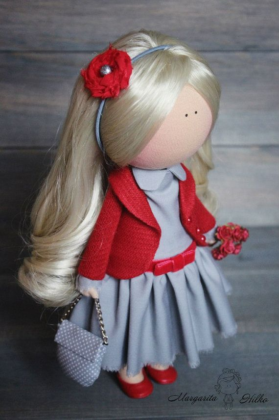 Art doll handmade red grey blonde color gift by AnnKirillartPlace