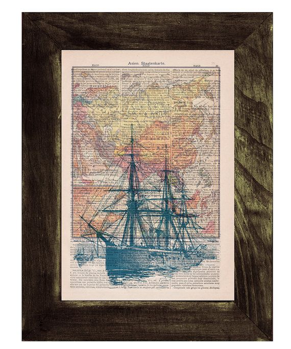 Old ship map  Print on Vintage Encyclopedic Dictionary Book page-  Home decor wall art on Etsy, $7.99