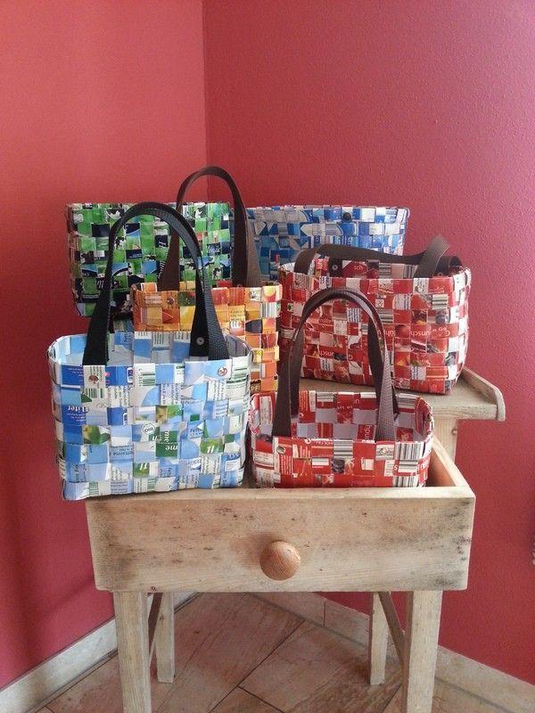 Taschen aus Tetra Pack in 3 verschiedenen Größen