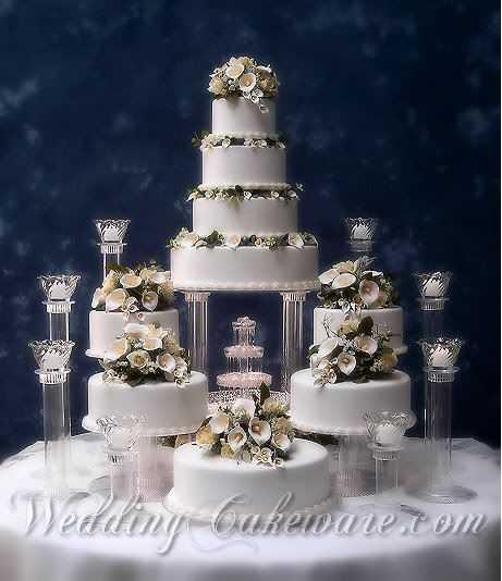 "Tiered Wedding Cakes with Fountains | ... in the set: 3"" glass votive cups, flowers, cakes, lighted fountain"