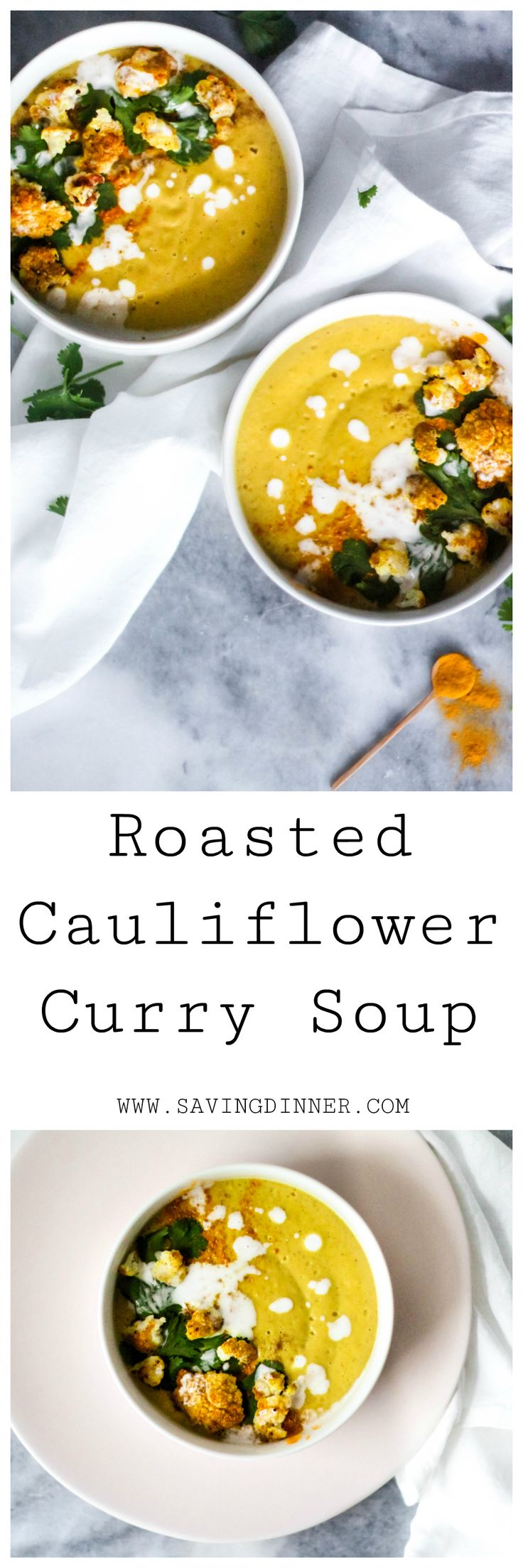 Hearty Roasted Cauliflower Curry Soup - Paleo Approved, Whole 30 Approved, Dairy-Free, simple recipe for a delicious dinner!
