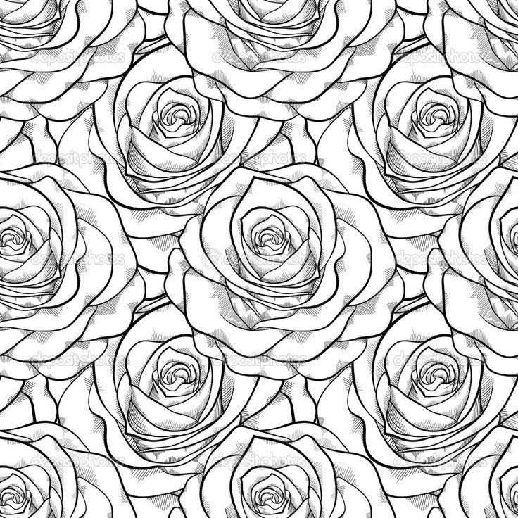 черно белые картинки для распечатки роза высокой температурой дальше