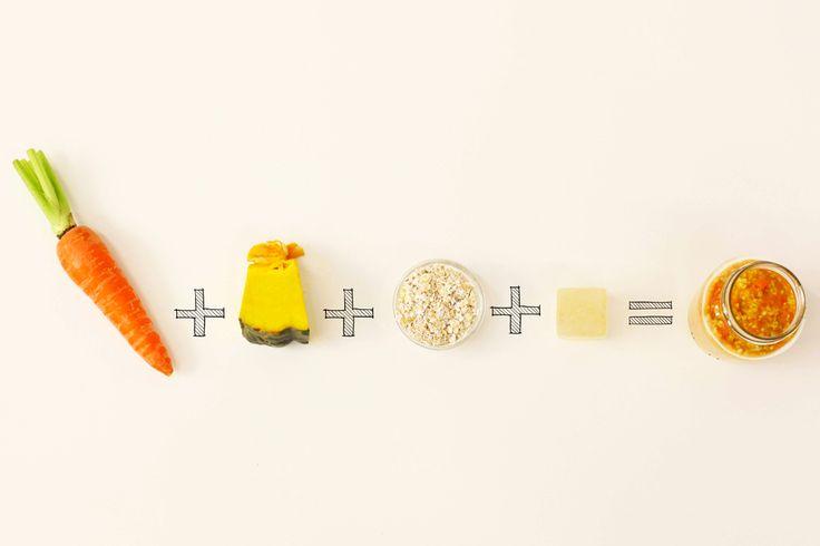 Papinha de abóbora e cenoura com aveia | Receita Panelinha:  Nesta opção, a refeição do bebê fica bem equilibrada, pois tem um alimento energético (aveia), dois reguladores (abóbora e cenoura) e proteína (do caldo!). Aliás, caldo de carne caseiro congelado é essencial.