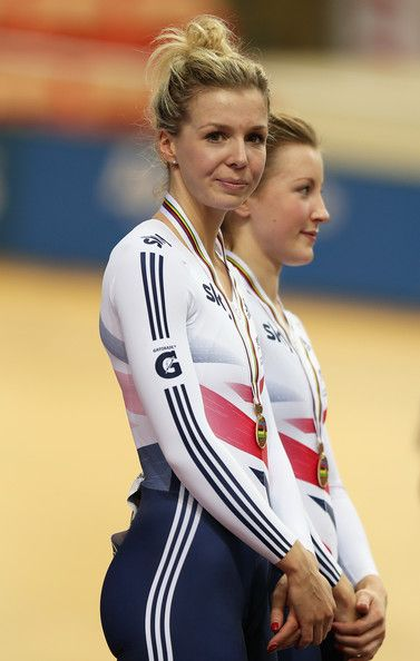 Vicotria Williamson and Victoria Williamson Photos - Rebecca James of Great Britain stands on the podium alongside team mate Victoria Williamson after finishing 3rd in the Women's Team Sprint during day one of the UCI Track World Championships at the Minsk Arena on February 20, 2013 in Minsk, Belarus. - UCI Track World Championships - Day One
