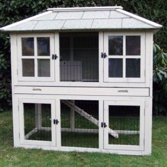 Needs 1st floor poop shoot & raised wire bottom floor so they can only eat grass tips/don't kill the grass