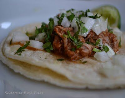 tacos al pastor--marinaded pork done in a crock pot.  These are appetizers, but could easily become dinner
