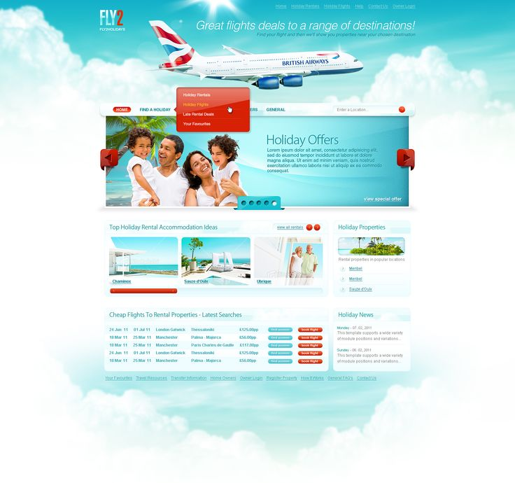 Web layout for a travel / turism site