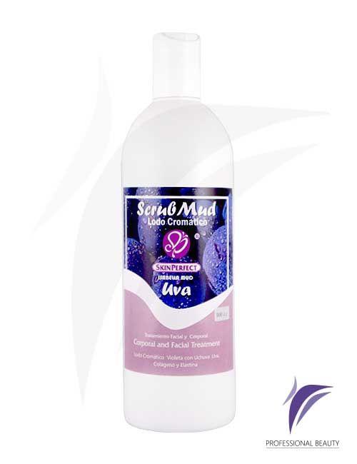 Scrub Mud Cremoso Uva 500cc: Exfoliantes cremosos con extractos de uva que eliminan células muertas y aportan suavidad a la piel preparándola para una mejor absorción de otros productos.