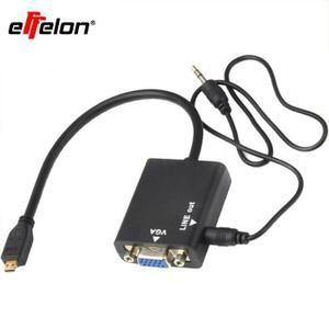 Effelon-1080P Micro HDMI vers VGA Câble Adaptateur Vidéo pour PC Moniteur Projecteur-Noir