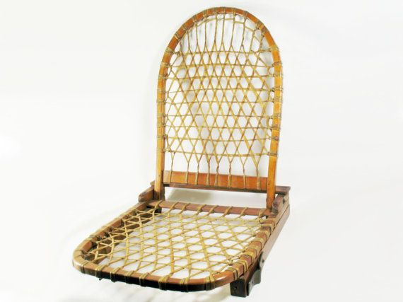 Wooden Woven Mesh Canoe Seat w Backrest Detachable by ScrappyPuppy
