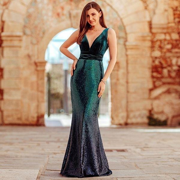 Ever-pretty Plus Size Sequins Velvet Long Evening Gowns Cocktail Party Dresses