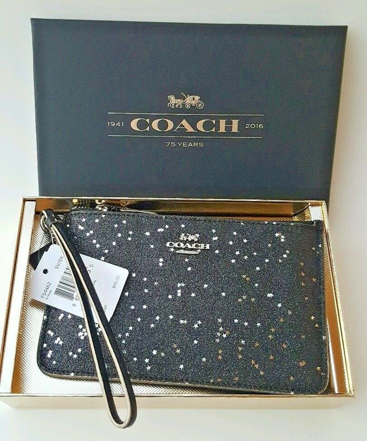 COACH Black Silver Small Wristlet Wallet Leather Glitter StarChristmas Gift #Coach #WristletWallet