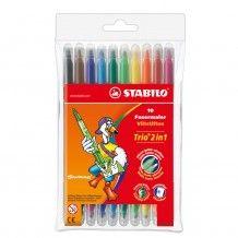 Stabilo - Flamastry Trio 2 w 1 - 10 sztuk