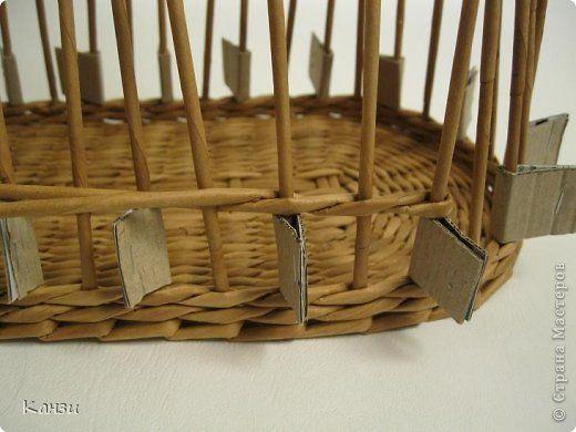 Поделка изделие Плетение МК корзинки с крышкой Бумага газетная Трубочки бумажные фото 10
