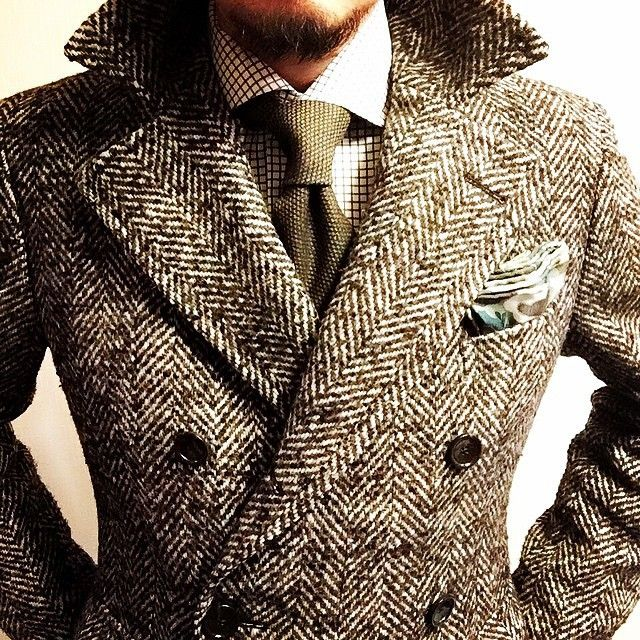 Men's double breasted herringbone coat