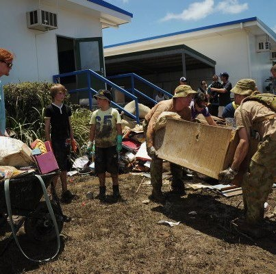 The army helping to clean up Bundaberg East State School