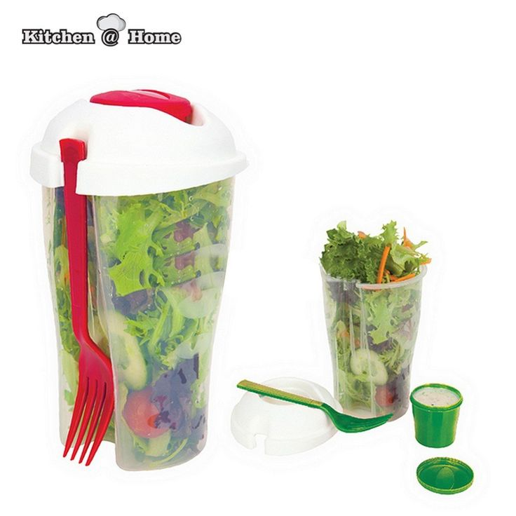 Salad Go Cup Container Set  #healthy #organicliving #organic #infusions #zapfoods.us #kitchen #useful #good #clean #salad #wastefree #lunch #environment #healthylunch #workinglunch