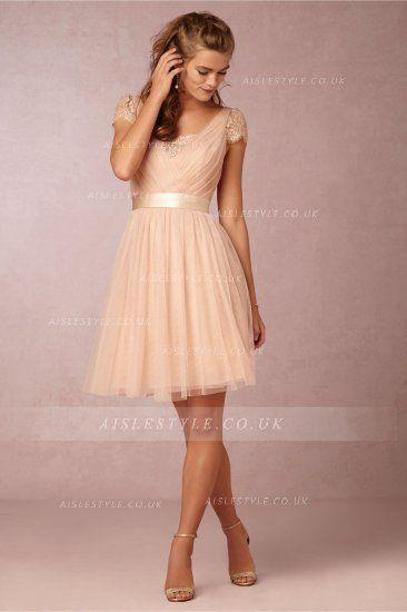 Short Sleeved Lace Trimmed V Neck Knee Length Champagne Tulle Bridesmaid Dress