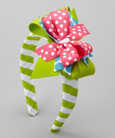 Another great find on #zulily! Pink & Green Headband & Hair Bow by Waistin' Away #zulilyfinds
