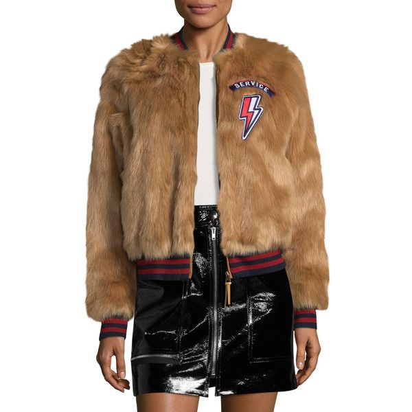 MOTHER Women's The Letterman Patch Faux Fur Jacket - Brown, Size L ($149) ❤ liked on Polyvore featuring outerwear, jackets, brown, flight jackets, brown faux fur jacket, faux fur jacket, faux fur bomber jacket and faux-leather jackets