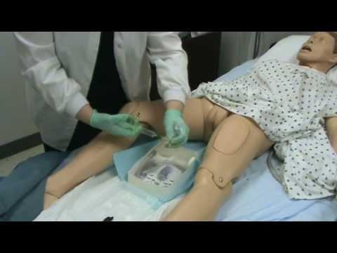 Indwelling Foley Catheter Insertion, via YouTube. Female.