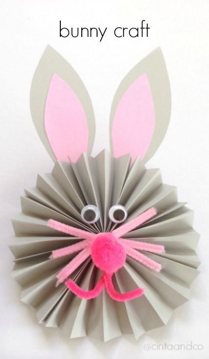 Origami Easter Bunny Craft - Paper Fan Rabbits
