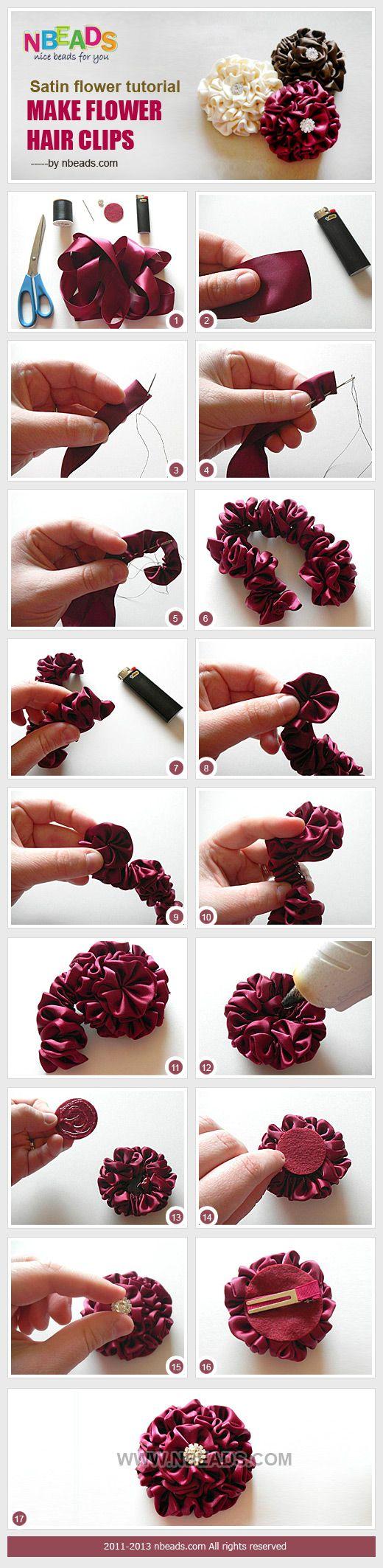 satin flower tutorial - make flower hair clips