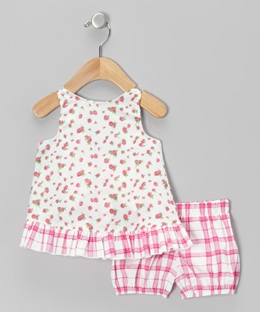 Take a look at this Pink Tiny Roses Pinafore & Bloomers - Infant by Beary Basics on #zulily today!