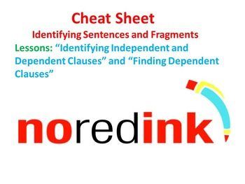 *This product is available in both Word and PDF for your convenience. Are you using NoRedInk with your students? Here is a cheat sheet I created to help my students work through two Identifying Sentences and Fragments lessons on NoRedInk. This cheat sheet covers the material Finding Dependent Clauses and ID (identifying) Independent and Dependent Clauses.