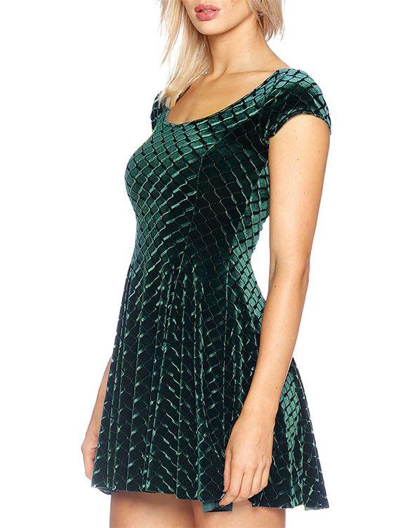 Embossed Velvet Reptilian Evil Cheerleader Dress - LIMITED (AU $120AUD) by Black Milk Clothing
