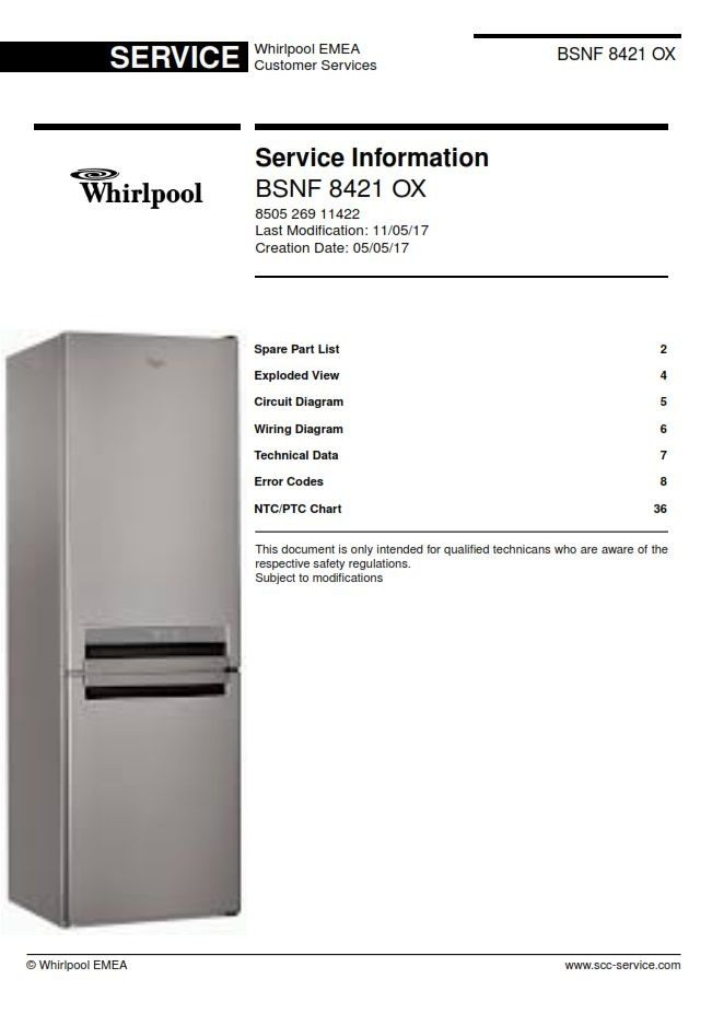 Marvelous Whirlpool Bsnf 8421 Ox Refrigerator Service Information Manual Wiring 101 Ferenstreekradiomeanderfmnl