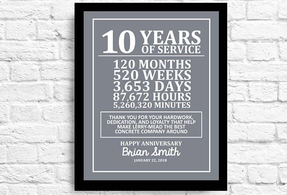 Customizable 10 Year Employee Gift Years Of Employment Work Etsy Work Anniversary Employee Gifts Work Anniversary Cards
