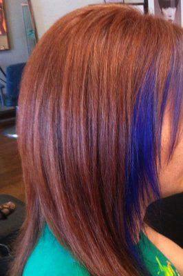 Peek a Boo Purple hilites and Coppery red Base Color by Kristina Austin