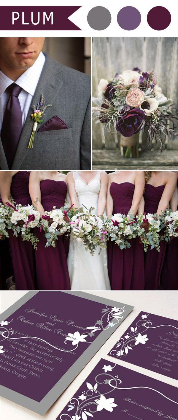 rustic plum purple and grey wedding color ideas and wedding invitations