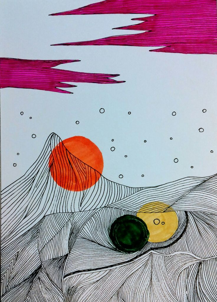 Sunset in the mountains. Drawing. Liner, markers
