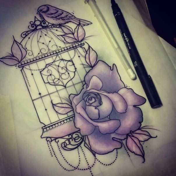 эскиз татуировки клетка с цветами и птицей