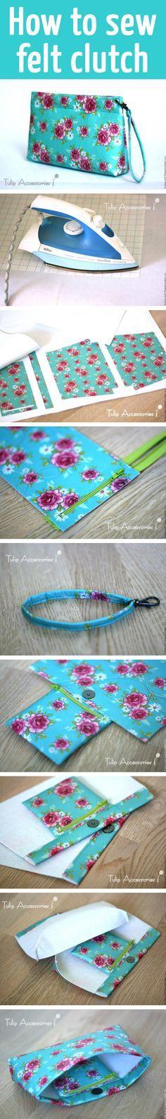 How to sew felt clutch