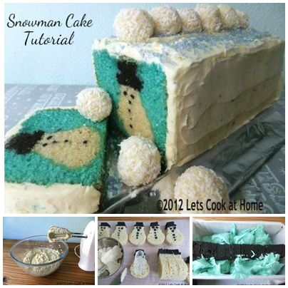 Hidden Snowman Cake! - how lovely would this be on Christmas Day :)