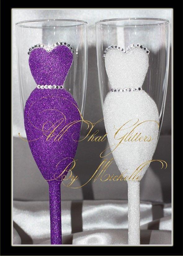 Wedding Hen Do Champagne Flute Glitter Glasses Purple | eBay