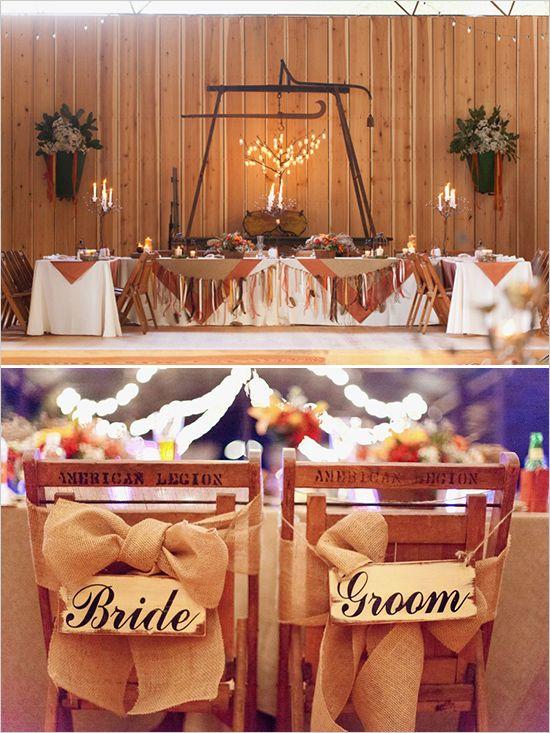 red and orange fall wedding