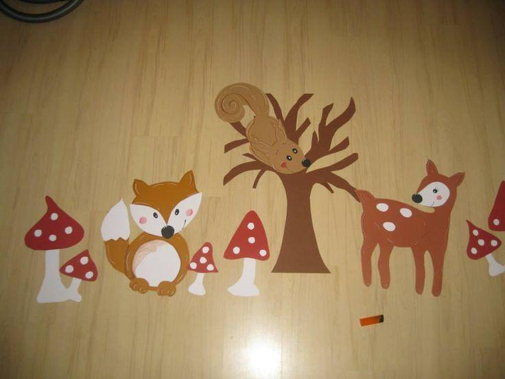kids window decoration autumnal with fox squirrel deer mashroom fensterbild…